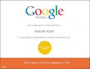 Ankush Kohli Google Analytics Certificate